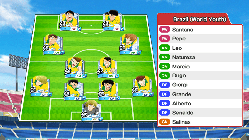 Lineup of Brazil youth team