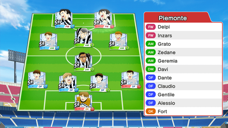 Lineup of Juventus